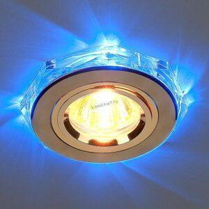 Точечный светильник 2020/2 (GD/LED/BL) золото/синяя подсветка (Elektrostandard)