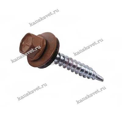 Саморез кровельный 4,8х28 коричневый шоколад RAL 8017