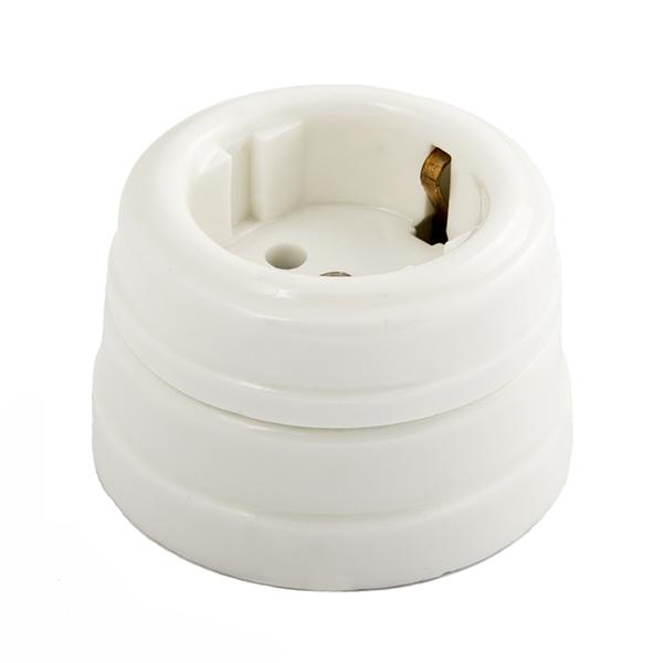 Розетка з/к керамическая с подъемной рамкой, цвет - белый d70x45мм IP20 GE70301-01 МЕЗОНИНЪ