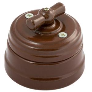 Выключатель керамический поворотный проходной 2 положения с подъемной рамкой, цвет-коричневый GE70404-04 МЕЗОНИНЪ